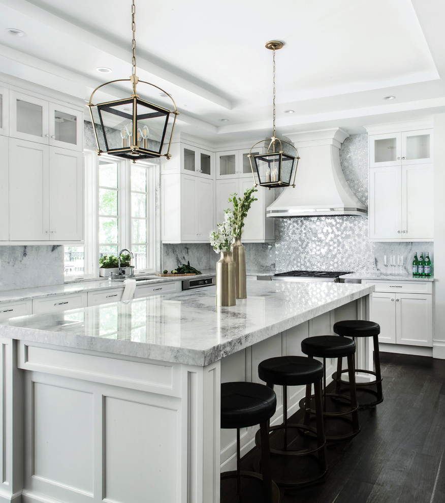 white kitchen and living room
